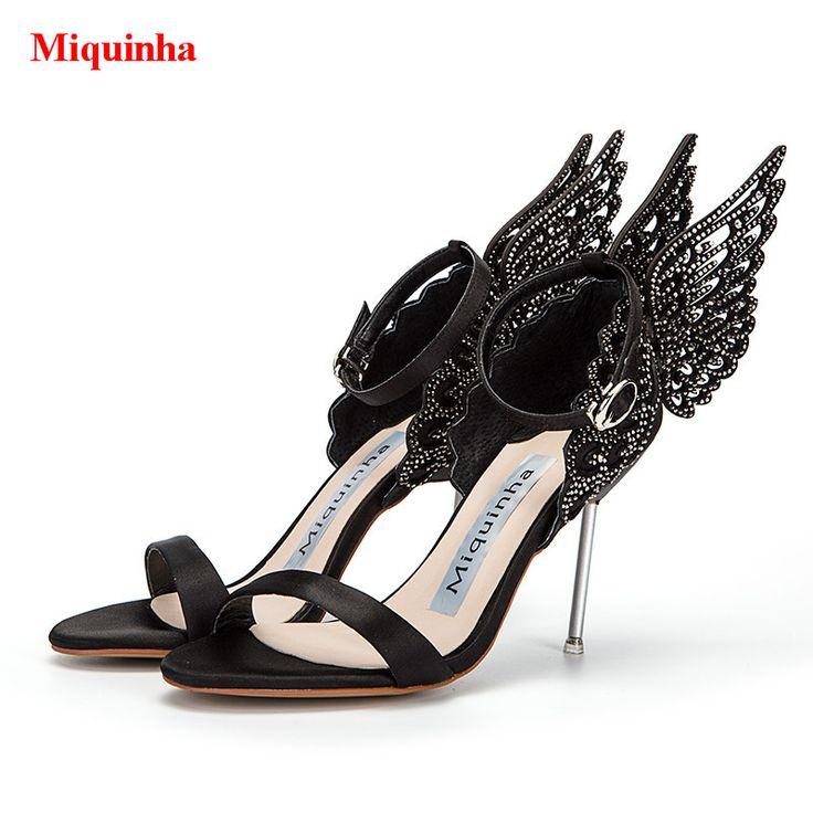 Черный шелковый атлас роскошный кристалл Крылья Ангела Женская вечерняя Свадебная обувь женщина Бабочка Ремешок на щиколотке пикантные босоножки на высоком каблуке купить на AliExpress