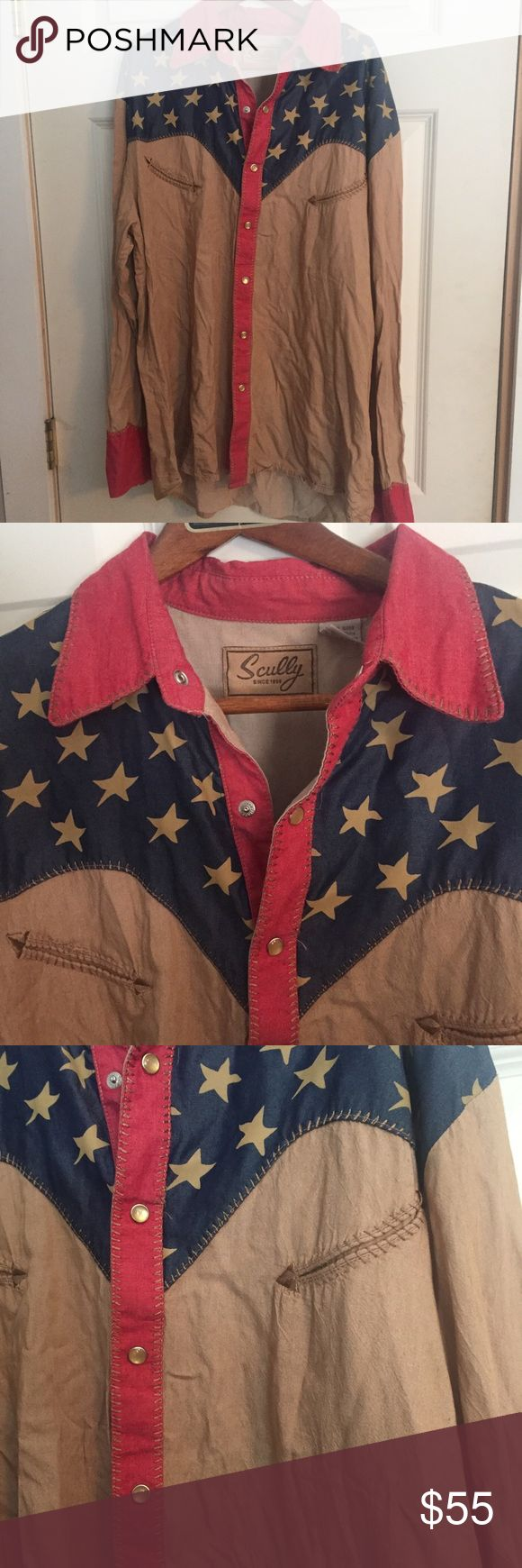SCULLY Western Shirt Medium American Flag 🇺🇸 Scully Long Sleeve Shirt. Western Style with American Flag pattern. Size Medium. Super soft material. Scully Shirts Casual Button Down Shirts