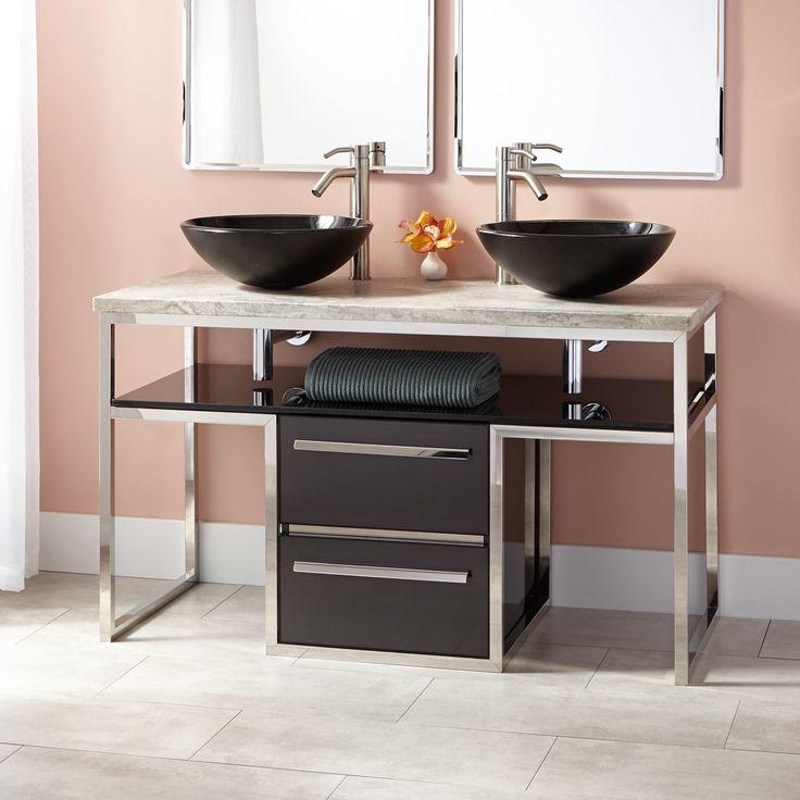 """Bathroom Vanities Regina: 48""""+Beaudoin+Stainless+Steel+Double+Vessel+Sink+Vanity"""