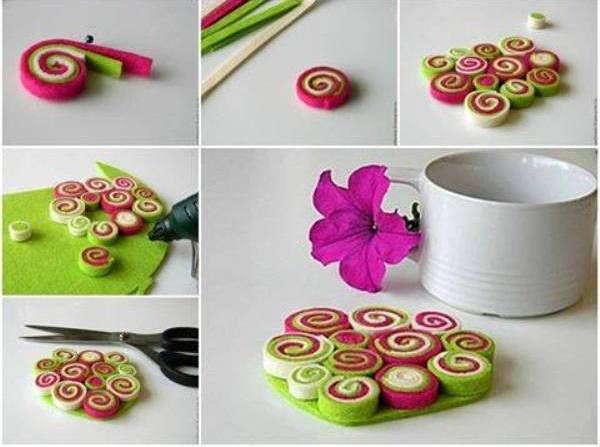 DIY-  Lively and funky felt Coasters - http://www.amazinginteriordesign.com/diy-lively-and-funky-felt-coasters/