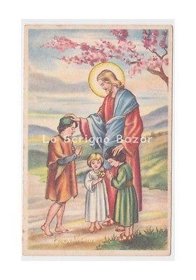 PMCE 377/1 cartolina d'epoca Pasqua Gesù bambini benedizione dei fanciulli