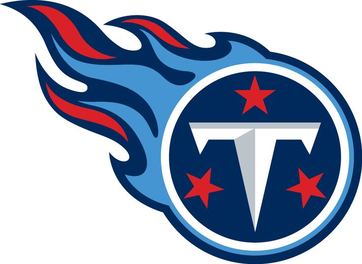 Tennessee Titans Primary Logo (1999) - Tennessee T-Shield with flames in navy blue, sky blue, and red