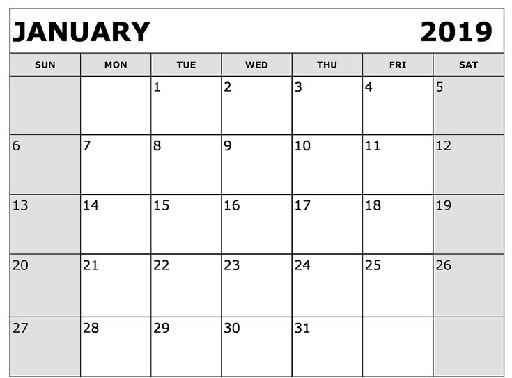 Free Printable Calendar 2019 January Academic Calendar 2019