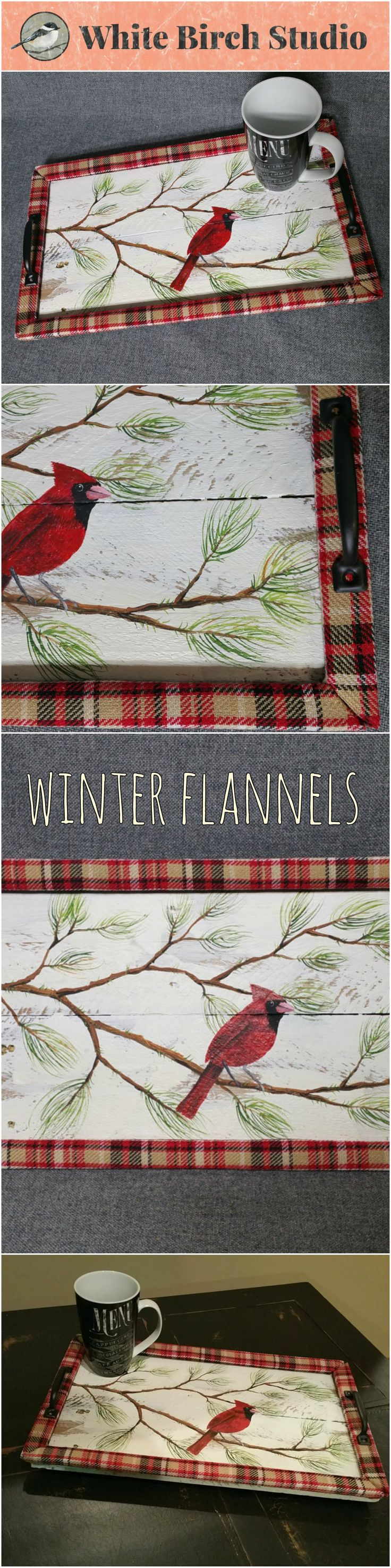 Decorative winter tray, Winter decor, Flannel plaid, Barn wood Serving Tray, table tray, distressed upcycled wood  This unique piece is 19 in x 11 in.   Are you looking for a unique, personal touch to your WINTER decor? This tray will look great on your coffee table with hand-painted evergreen branches and a cardinal. It has been sanded for a aged appearance. The tray edge is wrapped with plaid fabric for a unique look and flat black handles.