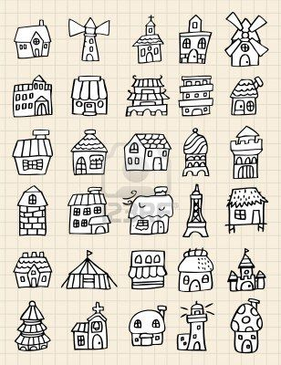hand draw cute house Stock Photo