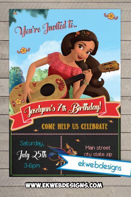 Custom Birthday Invitation Featurning Disneys Elena Of Avalor