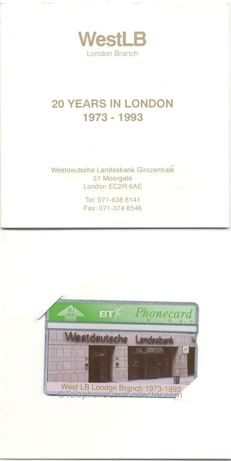 WestLB London Branch - 20 Years in London - 1973-1993 BT Phonecard