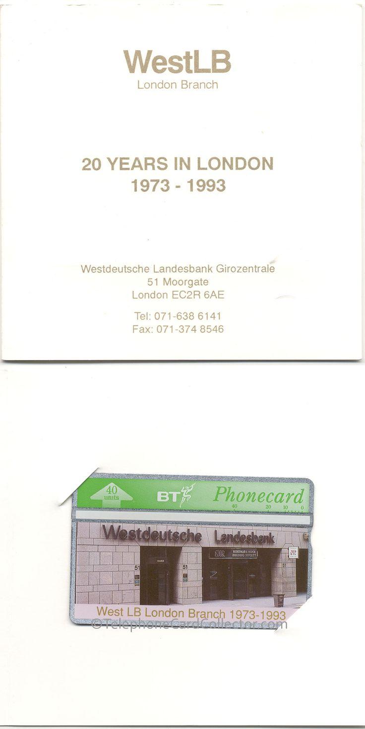 WestLB London Branch - 20 Years in London - 1973-1993 BT Phonecard