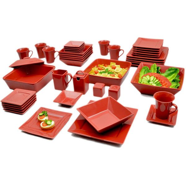 10 Strawberry Street Vivo Red Square 45-piece Dinner Set ($117) ❤ liked on Polyvore featuring home, kitchen & dining, serveware, red, red square dinner set, red soup bowls, porcelain dinner set, oven safe soup bowls and square soup bowl