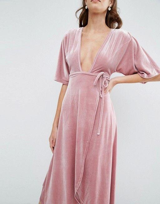 ASOS   ASOS - Кимоно бархатное платье с глубоким вырезом и галстук пояса
