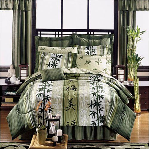 Asian Theme Bedding Japanese Style Haiku Design Complete Bed In A Bag Set Full Queen Or