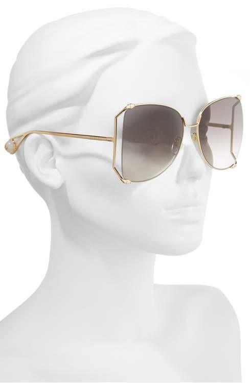 6b8de8867b7 Gucci 63mm Gradient Oversize Butterfly Sunglasses