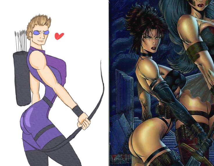 """The Hawkeye Initiative """"How to fix every Strong Female Character pose in superhero comics: replace the character with Hawkeye doing the same thing."""""""