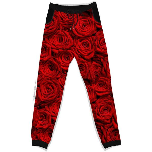 Red Rose Joggers - Jogging Pants - Sweatpants - Unisex - Drawstring ($58) ❤ liked on Polyvore featuring activewear, activewear pants, pants, bottoms, sweatpants, print sweatpants, drawstring sweatpants, pattern sweatpants, jogger sweatpants y drawstring sweat pants