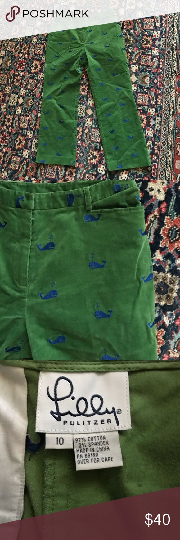 Lilly Pulitzer kelly green cord trouser pants 10 Adorable finewhale cord (not too heavy at all) and with adorable navy whale print Kelly green cords so Lilly Pulitzer. Flattering fit size 10 could possibly work for an 8.  Just in time for spring. 97% cotton and 3% spandex So have some nice stretch to them. Barely worn. Lilly Pulitzer Pants Ankle & Cropped