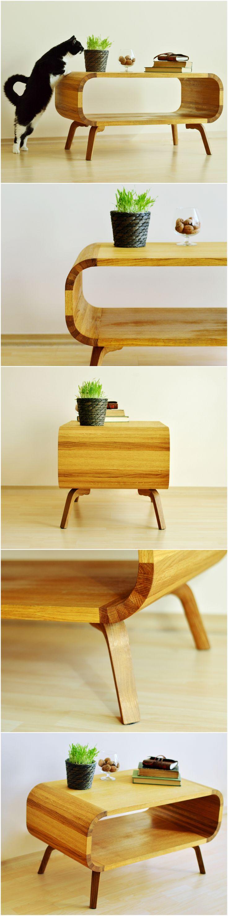 Coffee Table Side End Table Custom Mid Century Modern Handmade Living Room Solid Oak Board Wood Painted Furniture Retro Scandinavian Cafe