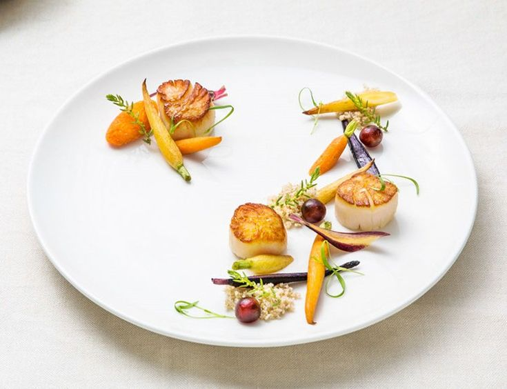 Seared scallops, roasted baby carrots