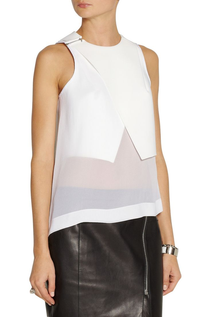 Dion Lee | Windfall bonded tech-jersey and silk-georgette top | NET-A-PORTER.COM