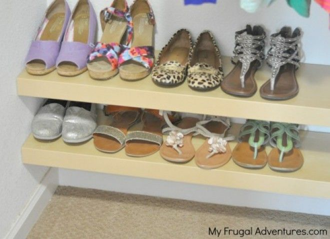 Store Your Shoe Collection by putting floating IKEA shelves across the bottom of your closet to keep your shoes from piling up in a disorganized pile.