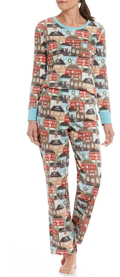 A fun pattern! Sleep Sense Winter Village Pajamas.  affiliate ... ff9de586b