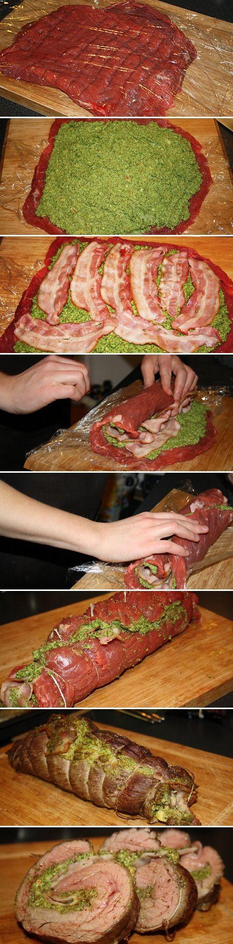 Lækker kødroulade af flankesteak med bacon og krydret hjemmelavet pesto - trin for trin.