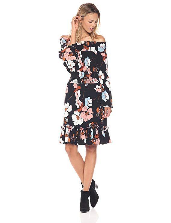 63bed414b100 Amazon.com  Ella Moon Women s Eleni Off The Shoulder Wide Smocked Ruffle  Hem Dress  Clothing  ellamoon  summer  dressup  amazon