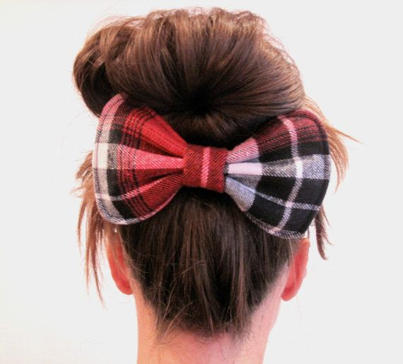 Big Dolly Bow // Red Tartan Hair Bow // Original by hellobettybow