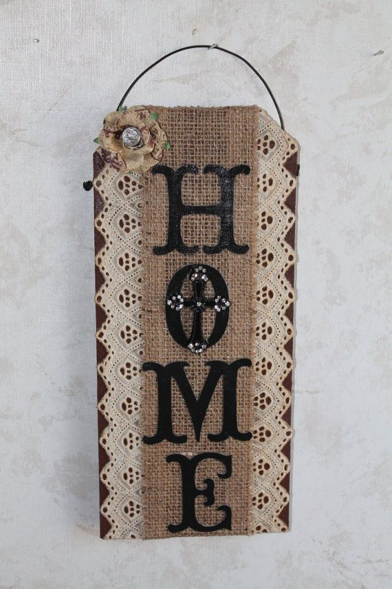 Burlap Lace And Bling Wall Decor..Home Wall By CraftsByJoyice, $21.95