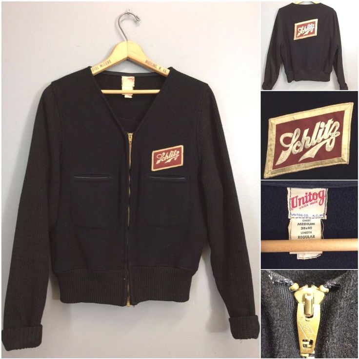 #advertsisng #VTG #50s #40s #Schlitz #Beer #Uniform #Delivery Collarless Wool #VintageJacket #Workwear #Unitog