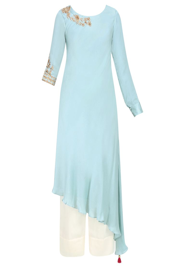 Frost blue embroidered asymmetric tunic with pants available only at Pernia's Pop Up Shop.