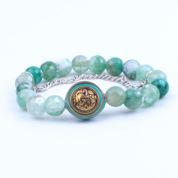 Natural Agate 10MM bead with silver chain bracelet Nepal beaded bracelet elastic Lucky Jewelry