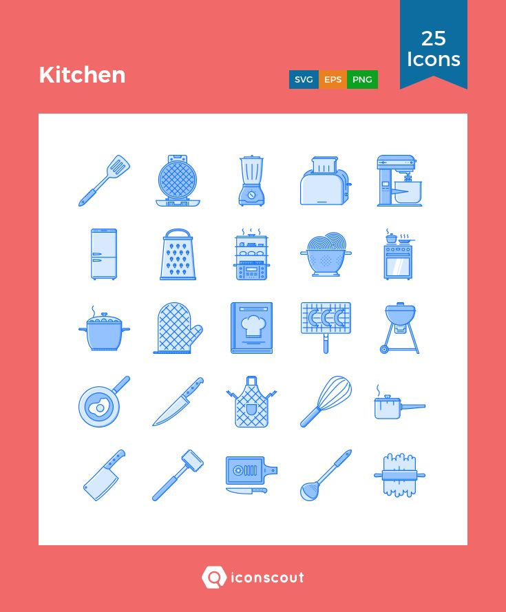 Kitchen  Icon Pack - 25 Filled Outline Icons