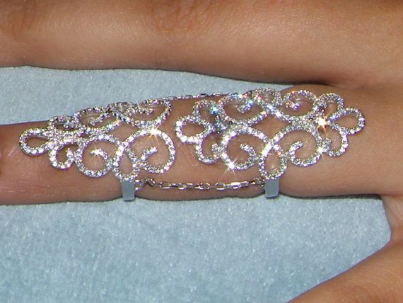 Sterling 925 Silver Faux Diamond Wedding Engagement Full Finger Knuckle Ring /Bague,long finger ring,Bijoux ,bague en argentUNUSUAL