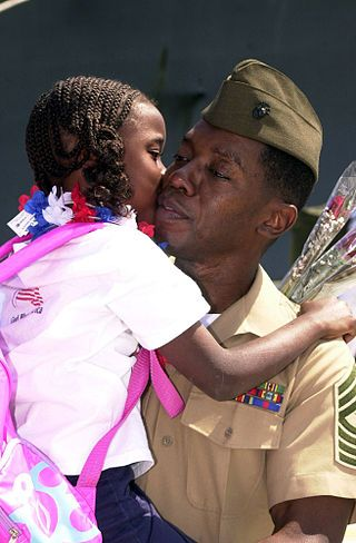 Father/daughter. I can identify with the picture having served in the U.S. Marine Corp. myself and experiencing the love of a daughter to their father. It is definitely special and I would not change it for the world.