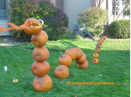 pumpkin dragon; an amazing jack-o-lantern idea. Cool to make scales on all the other pumpkins and add lights to them