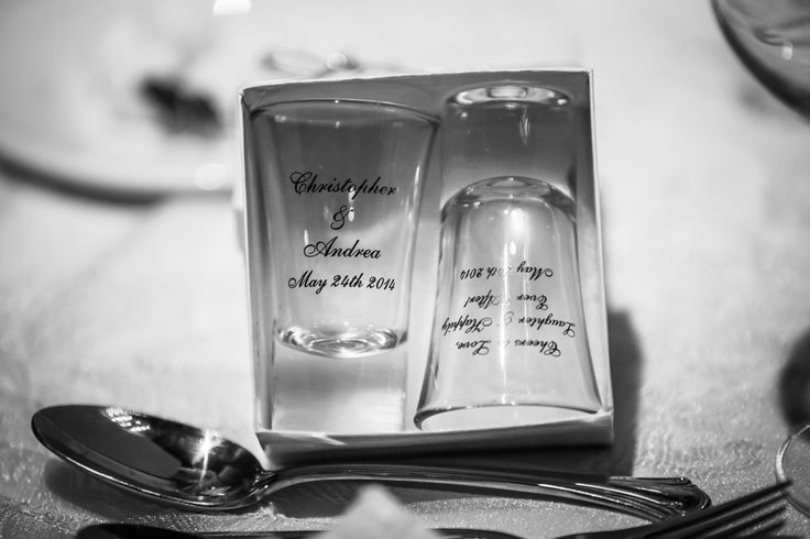 Their wedding favours to their guests, 2 shot glasses with their names and wedding date- gotta love this! http://www.fusion-events.ca/
