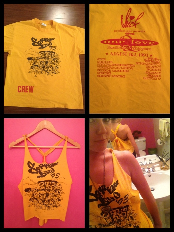 Turned this #vintage #festival t shirt of my sisters into an adorable #hi #lo #oversizetank !! So in love with it! #diy