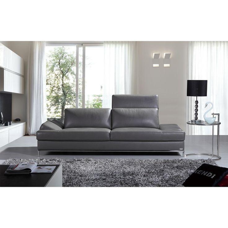 Divani Casa Izzy Modern Dark Grey Eco-Leather Sofa