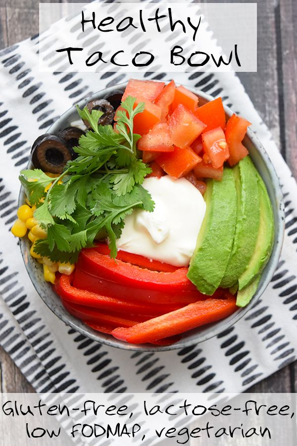 The best ever healthy taco bowl! Gluten-free, lactose-free, low FODMAP and vegetarian!