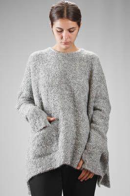 MA'RY'YA | wide sweater in alpaca bouclé knit, merinos wool and polyamide melange | #maryya