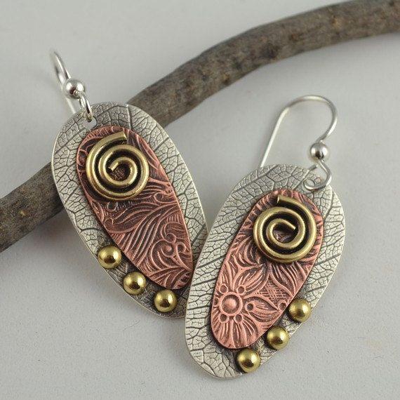 Mixed Metal Earrings Copper Earrings by DeborahCloseDesigns