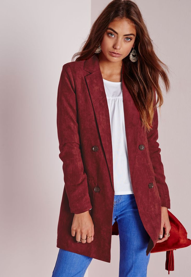 Missguided - Faux Suede Double Breasted Blazer Rust