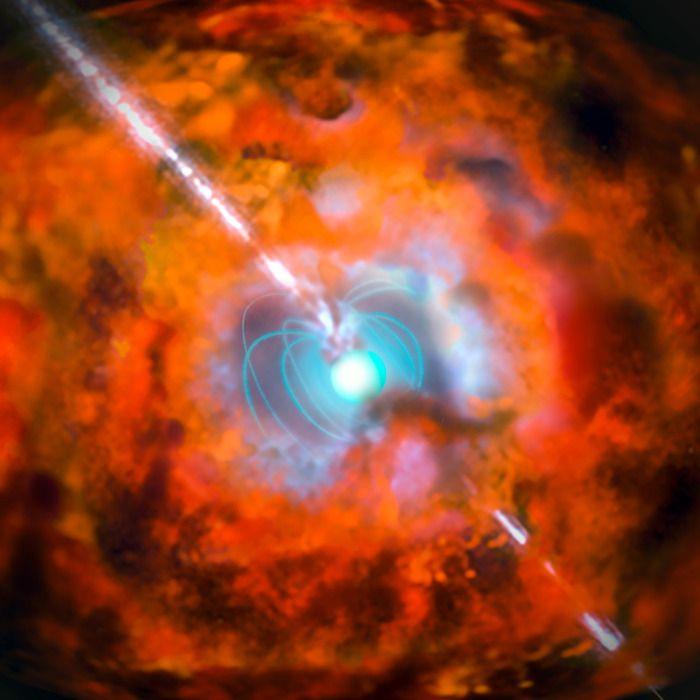 Supernova mit Magnetar als Energiequelle (künstlerische Darstellung) Gammastrahlung ist genau wie Radiowellen, Licht oder Röntgenstrahlung eine elektromagnetische Strahlung, allerdings noch energiereicher als Letztere.