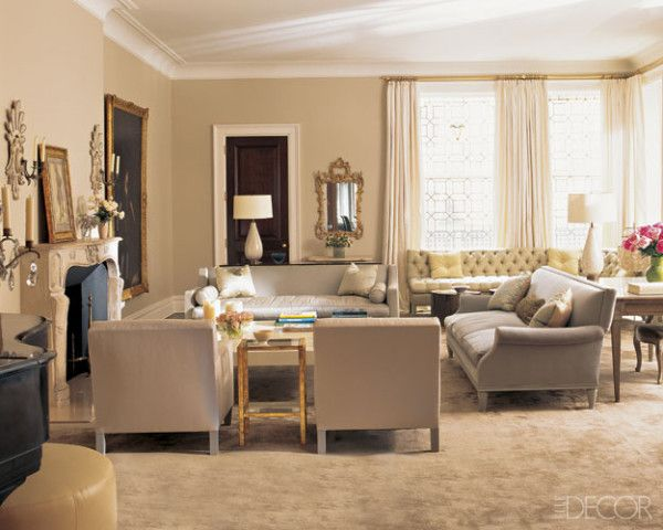 The living room of Cathy and Marc Lasry's Upper East Side townhouse, decorated by DD Allen of Pierce Allen, features an adroit mix of French and English antiques and modern furnishings.