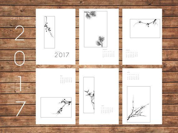 2017 Calendar Minimal Art Plants Geometric Modern by KYLprintable