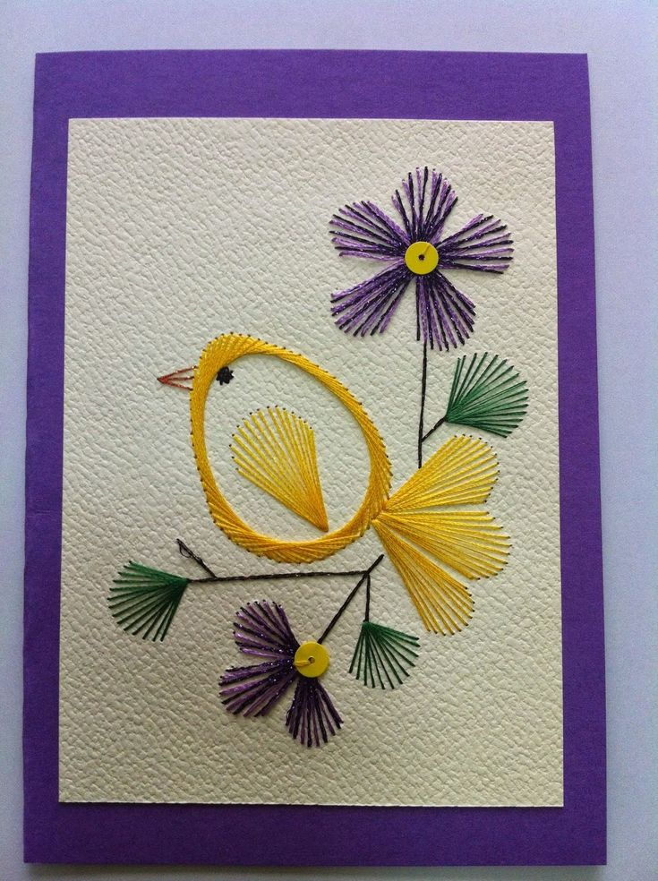 hand embroidered greeting card ... yellow bir on a branch with violet flowers ...
