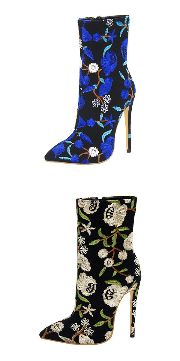 Material:Suede|Heel Height:12cm|Embellishment:Embroidery