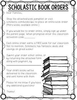 SCHOLASTIC BOOK ORDER FORM PACKET - TeachersPayTeachers.com