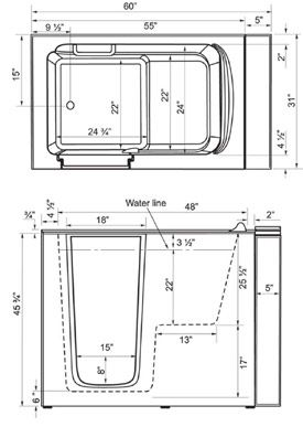 23 best walk in tubs images on pinterest walk in bathtub for Soaking tub sizes