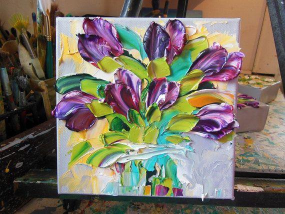 Oil Painting Magenta Purple Tulips Art Still door IronsideImpastos
